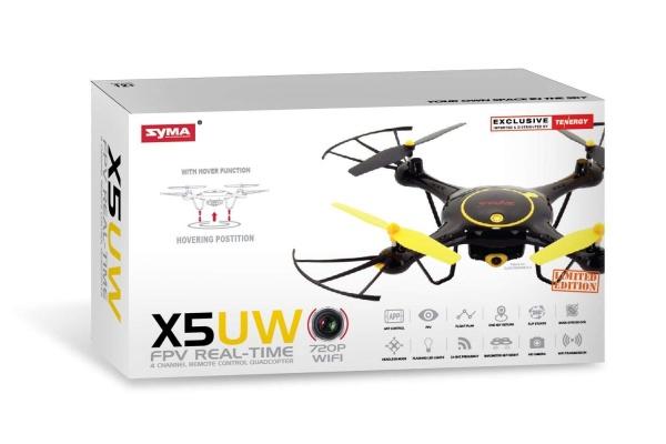 SYMA X5UW PRO - WIFI-HD kamera + barometr + 28 minut letu ČERNÁ